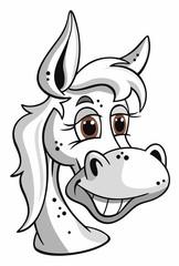 Pferd Portrait Schimmel Cartoon