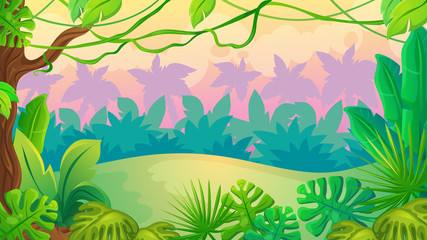 Fun Sunset Jungle Landscape