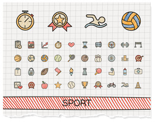 Sport hand drawing line icons. Vector doodle pictogram set. color pen sketch sign illustration on paper with hatch symbols, baseball, football, tennis, bicycle, pool, soccer, rugby, fitness.