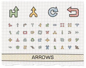 Arrows hand drawing line icons. Vector doodle pictogram set. color pen sketch sign illustration on paper with hatch symbols, right, left, move, join, cursor, interface, switch, merge, turn.