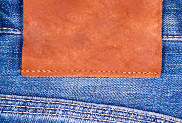 Part of jeans close-up.