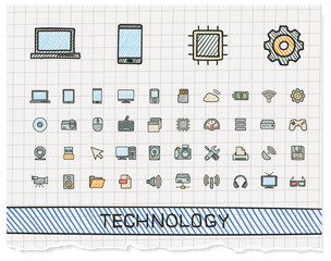 Technology hand drawing line icons. Vector doodle pictogram set. color pen sketch sign illustration on paper with hatch symbols, network, digital, internet, computer, laptop, social media, cloud