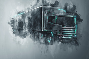 Painted tractor trailer truck in gray