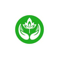 Leaf in hand logo.