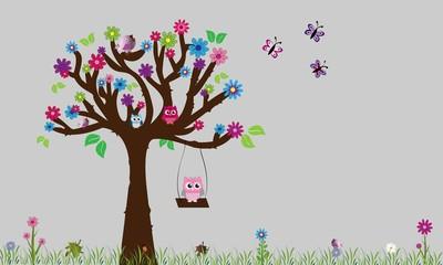 Printed roller blinds Birds in cages Árbol con búhos y flores 4.