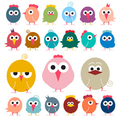 Chicken - Flat Design Vector Funky Chicks Illustration Isolated on White Background - Simple Birds Icons