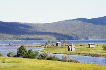 Houses at lake