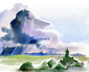 Rain and storm clouds.Watercolor sketch landscape.