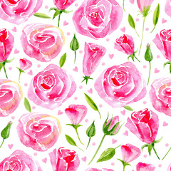 Floral seamless pattern.Pink floral pattern with rose,hearts and herbs on a white background,drawing watercolor.Pattern for fabric, paper and other printing and web projects.