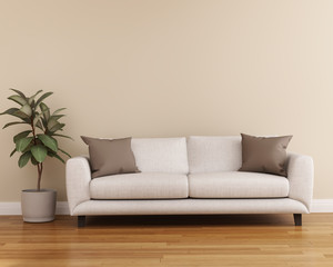 Modern beige interior with off white sofa