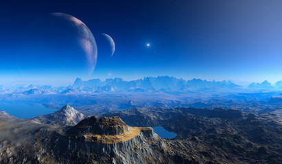 double moon above Crater Landscape on alien Planet. Wall mural
