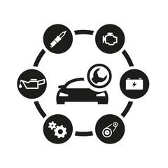 Vector black car service icon set. Car Service Icon Object, Car Service Icon Picture, Car Service Icon Image - stock vector