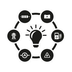 Vector black electricity icon set. Electricity Icon Object, Electricity Icon Picture, Electricity Icon Image - stock vector