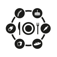 Vector black food icon set. Food Icon Object, Food Icon Picture, Food Icon Image - stock vector