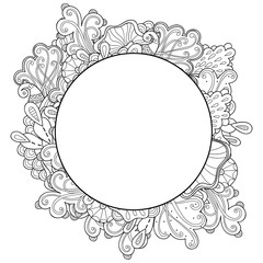 Doodle abstract marine round frame. Template abstract frame design for card. Decorative hand drawn vector element border.