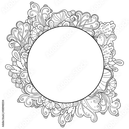 doodle abstract marine round frame template abstract frame design