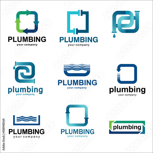 Flat Logo Design For Plumbing Company Vector Templates Logos Plumbing With Text Recommended For