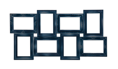 Picture photo frame of blue color with eight windows inside isolated on white background