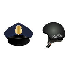 Police hat and helmet