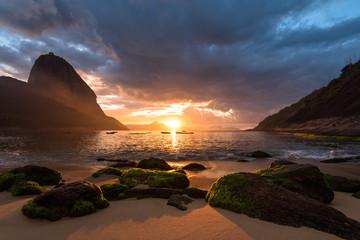 Beautiful Sunrise in the Red Beach (Praia Vermelha) with the Sugarloaf Mountain, Rio de Janeiro, Brazil