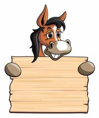 Pferd mit Holzschild