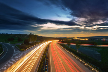 Keuken foto achterwand Nacht snelweg Long-exposure sunset over a highway