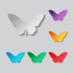butterfly icon. Paper style colored set