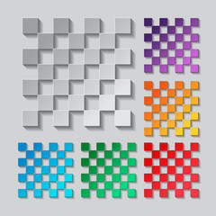 Transparency grid. Seamless pattern set. paper design with colored objects