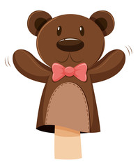 Bear hand puppet with pink bow