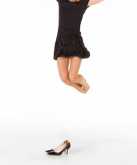 Lady jumping high in the air