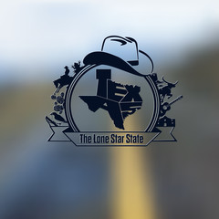 Texas State Map Lettering & Symbols Black Composition On Blurred Background