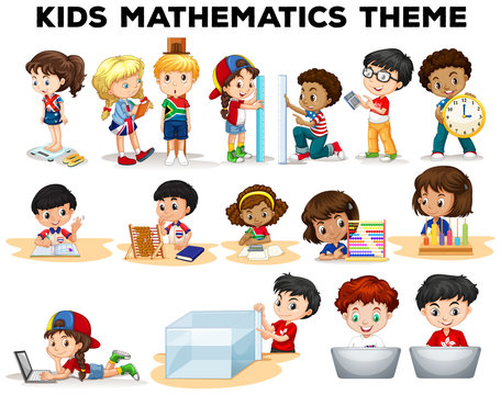 Kids solving math problems