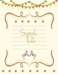 Paper templates with lights and horses background