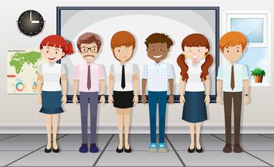 Teachers standing in classroom