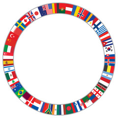 round frame made of world flags vector illustration