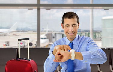 businessman waiting the flight