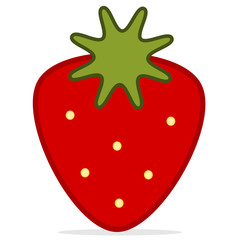 cute cartoon strawberry isolated on white background vector illustration