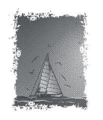 Abstract sailboat,seagull and sea.Vector.Suitable as label on a