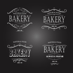 Set of Vintage monochrome bakery emblem. Old style elements, logos, logotypes for badges, bread company, bread house, cafe, cake shop.