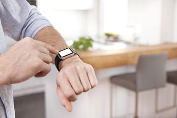 Man using his smartwatch