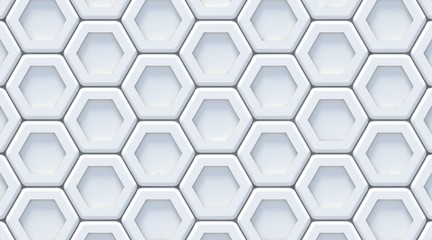 White gray abstract hexagonal background. 3D render, soft shadows