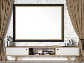 Mock up picture frame with brown curtains. 3D render illustration