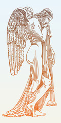 digital sketch drawing of marble statue sad angel in St. Peter