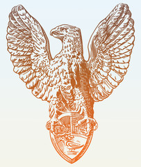 digital drawing of heraldic sculpture eagle in Rome, Italy