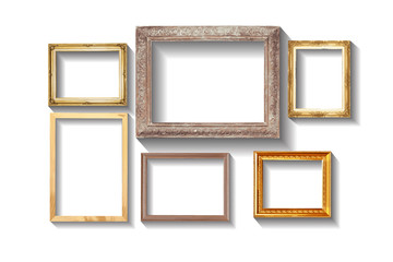 Set of golden vintage wood frame with shadow, isolated on white