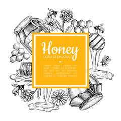 Vector hand drawn honey frame. Detailed engraved honey illustration.