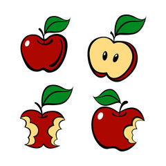 Painting apple set, vector