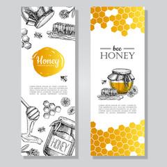 Vector hand drawn honey banners. Detailed honey engraved  illustration