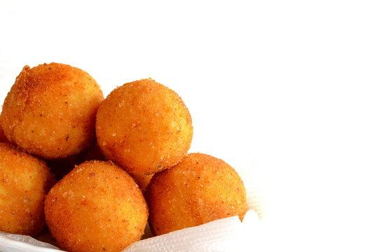 Fried rice balls arancini isolated on white background