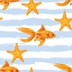 Seamless sea pattern with gold fish and red starfish. Summer vector background. Perfect for wallpapers, pattern fills, web page backgrounds, surface textures, textile